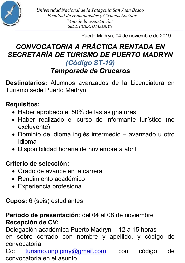 CONVOCATORIA SECTUR 2019